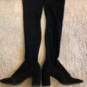 Black suede over the knee boots.